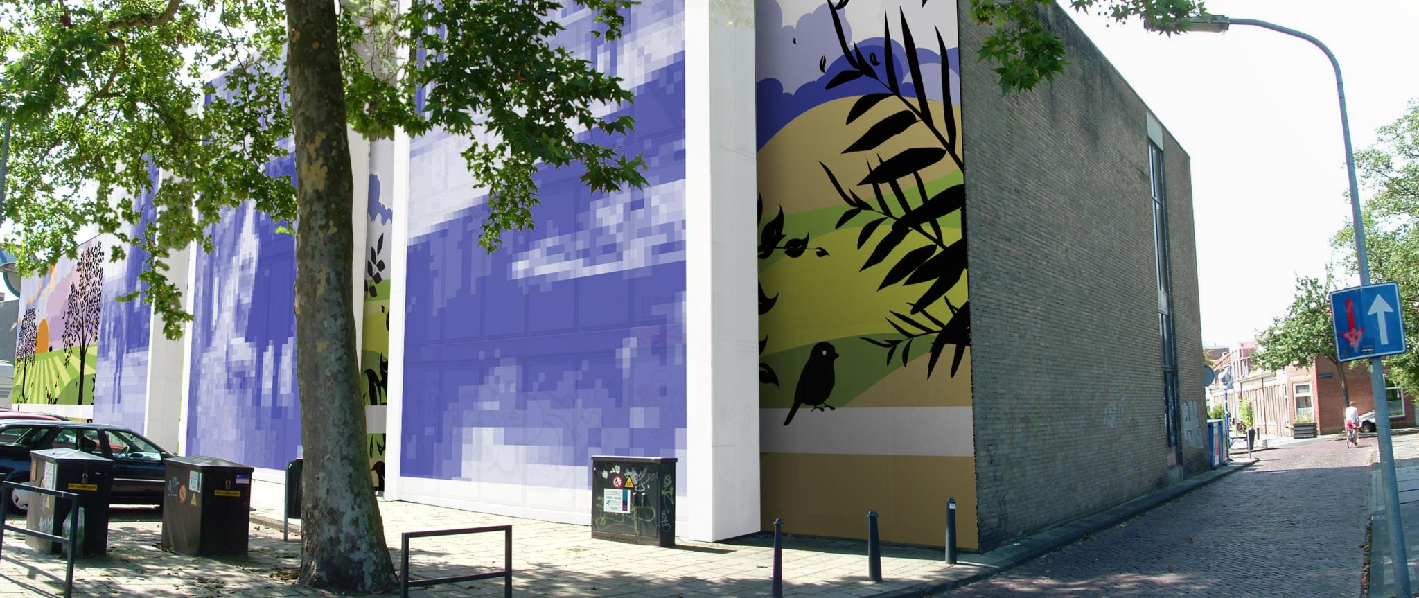 impressie van muurschildering op energiegebouw Haarlem ZuidWest
